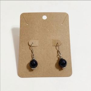 Navy Blue and Silver Drop Earrings